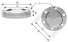 "CF150 - 8.0""  Blank Flange Tapped Non-Rotatable 144651"