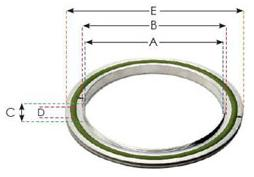 114965 - ISO 250 Centering Ring /w Outerring Centering O-Ring (Nitrile Alu)